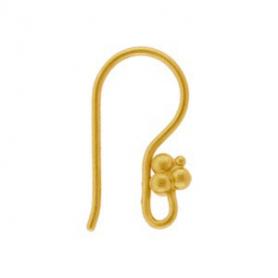 24K Gold Plated Ear Hook - Three Granulated Balls 17x4mm