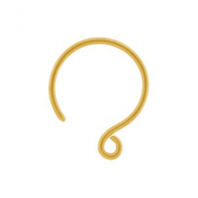 Gold Ear Hook - Simple Circle with 24K Gold Plate