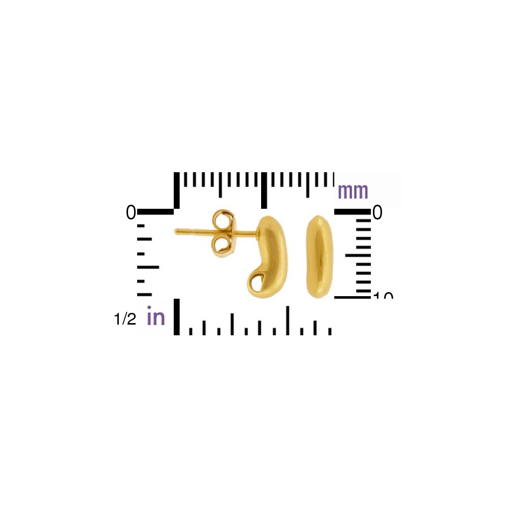 Gold Stud Earring Part - Bean Shape in 24K Gold Plate 10x4mm