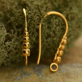 Gold Ear Hook - with Graduated Dots in 24K Gold Plate