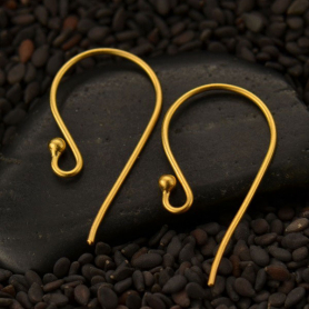Satin 24K Gold Plated Large Simple Ear Hook w Ball 23x12mm