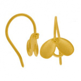 Gold Ear Hook - with Cupped Petal in 24K Gold Plate 18x11mm