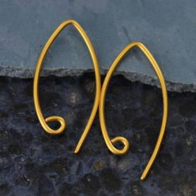 Gold Ear Wire - Marquis with Loop in 24K Gold Plate 23x12mm