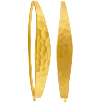 Gold Ear Wire -Long Hammered Finish in 24K Gold Plate 36x5mm