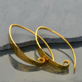 Gold Ear Wire - Long Hammered Finish in 24K Gold Plate