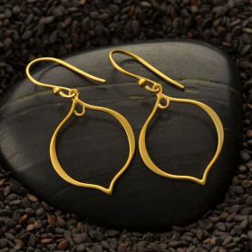 24K Gold Plate Arabesque Shape Earring Findings 36x19mm