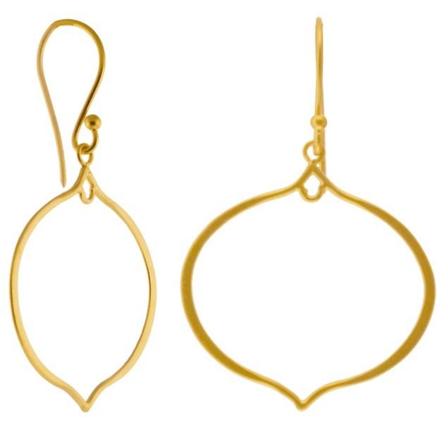 24K Gold Plate Arabesque Shape Earring Findings 47x27mm