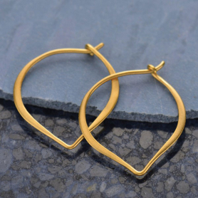 Gold Hoop Earrings - Small Lotus Petal in 24K Gold Plate