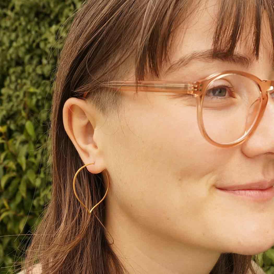 Gold Hoop Earrings - Lotus Petal in 24K Gold Plate 41x35mm