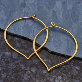 Gold Hoop Earrings - Large Lotus Petal in 24K Gold Plate