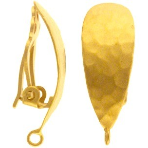 Gold Clip On Earring - Hammered Teardrop in 24K Gold Plate