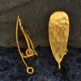 24K Gold Plated Clip On Earring - Hammered Teardrop 26x9mm