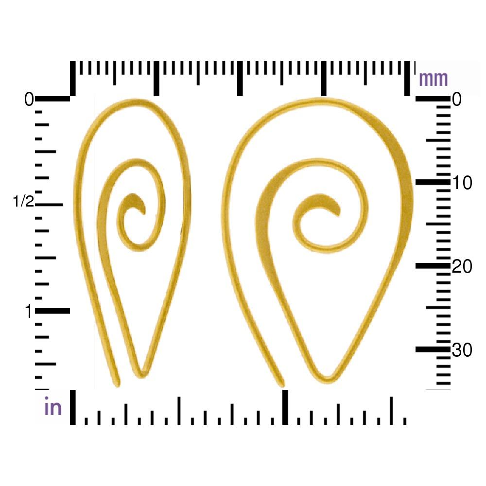 24K Gold Plated Ear Wire - Spiral Teardrop Shape 40x26mm