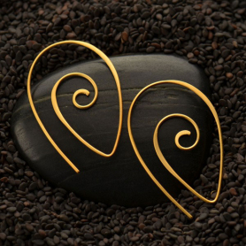 Gold Ear Wire - Spiral Teardrop Shape in 24K Gold Plate
