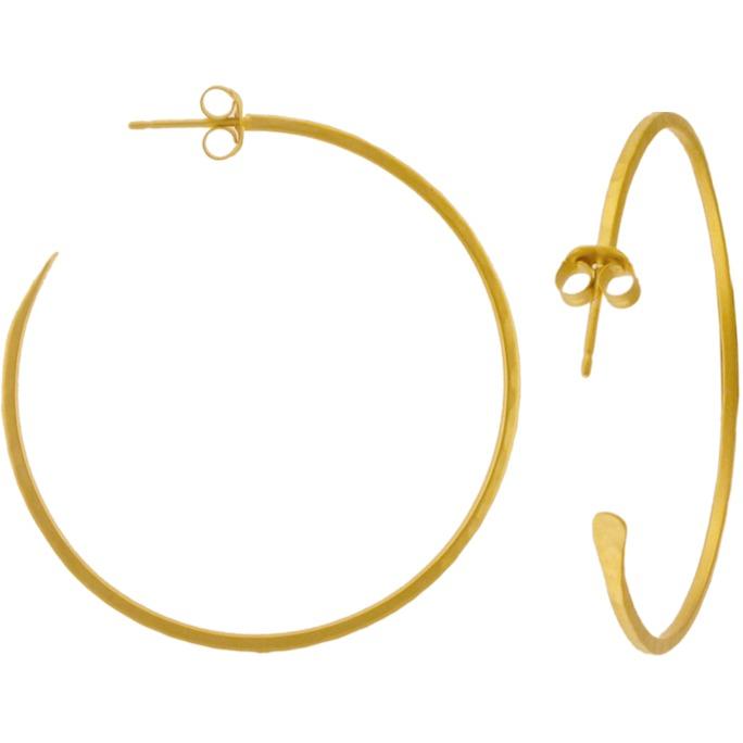 24K Gold Plated Hammer Finish Hoop Earrings 40x40mm