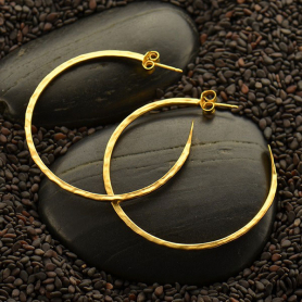 Gold Hoop Earrings - Hammer Finish in 24K Gold Plate -40mm