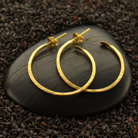 24K Gold Plate Hoop Earrings - Hammer Finish on Post -30mm