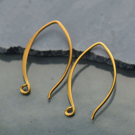 Gold Ear Wire - Small Marquis in 24K Gold Plate 25x15mm