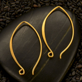 Satin 24K Gold Plated Ear Wire - Marquis Shaped 34x19mm