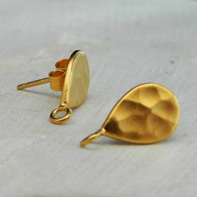 Gold Stud Earring Part - Hammered Teardrop in 24K Gold Plate