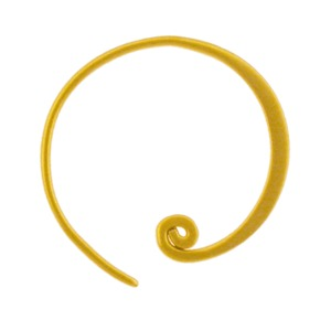 24K Gold Plated Hoop Earrings - Circle with Curlicue 20x18mm