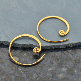 Gold Hoop Earrings - Circle with Curlicue in 24K Gold Plate