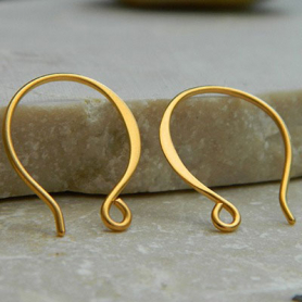 24K Gold Plated Ear Wire - Small Flat Circle Shaped 17x14mm