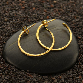 24K Gold Plate Hoop Earrings - Hammer Finish with post -25mm