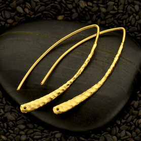 Gold Ear Wire - Large Hammered Marquis in 24K Gold Plate