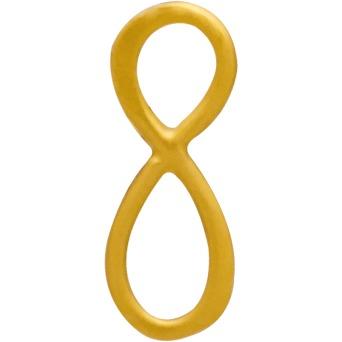 24K Gold Plated Infinity Stud Earrings 13x6mm