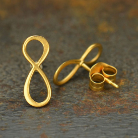 24K Gold Plated Infinity Stud Earrings 13x6mm