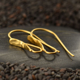 24K Gold Plated Hammered Front Teardrop Earring Top 24x3mm