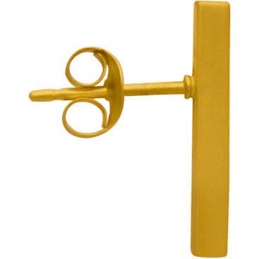 24K Gold Plated Bar Stud Earrings 15x2mm