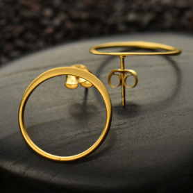 Gold Stud Earrings - Open Circle with 24K Gold Plate 18x18mm