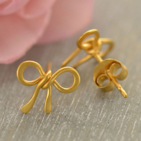 Gold Stud Earrings - Bow with 24K Gold Plate DISCONTINUED