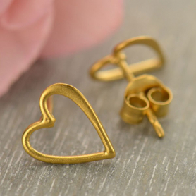 24K Gold Plated Stud Earrings - Openwork Heart 9x8mm