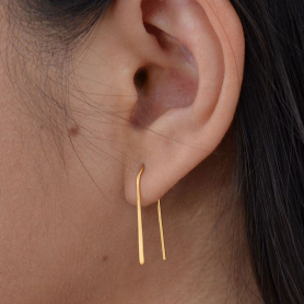 Gold Ear Wire - Arc Earrings with 24K Gold Plate