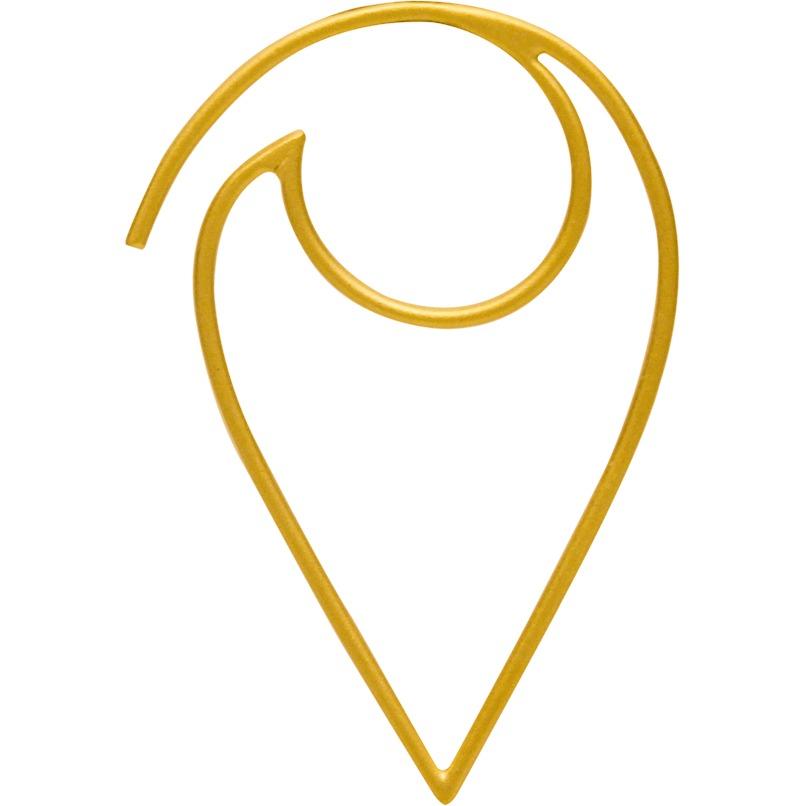 24K Gold Plated Open Wire Petal Earrings 36x24mm