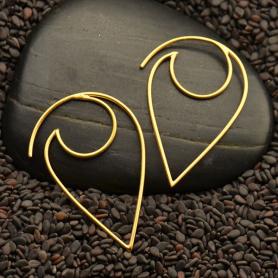 Gold Ear Wires - Open Wire Petal Earrings in 24K Gold Plate