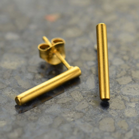 Gold Stud Earrings - Cylinder Bar with 24K Gold Plate