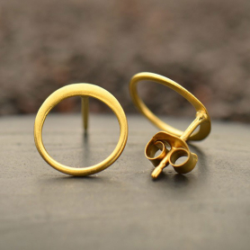 Gold Stud Earring - Small Open Circle Post in 24K Gold Plate