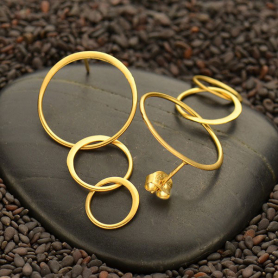 Gold Stud Earrings - Three Graduated Circles 24K Gold Plate
