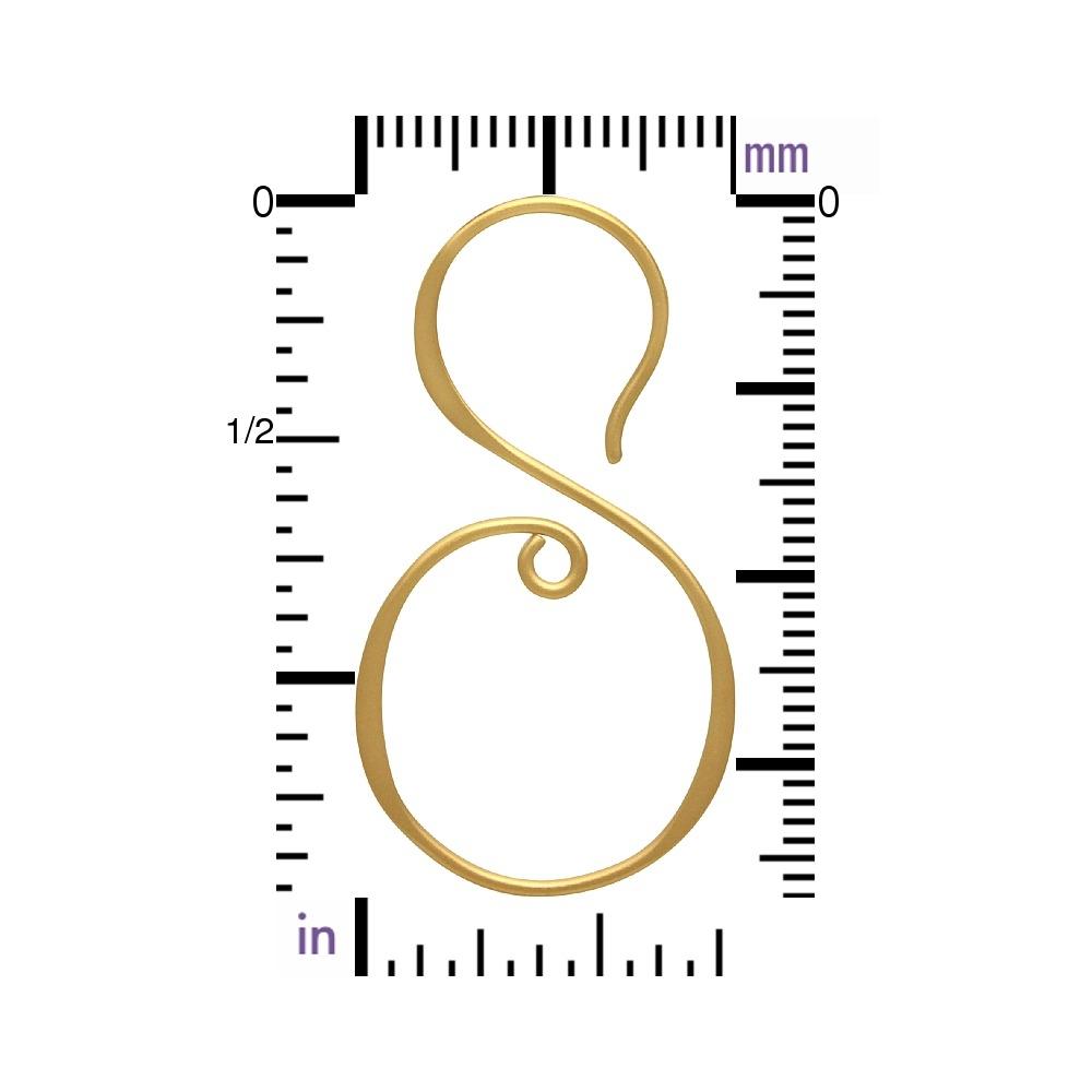 Gold Earring Hook - S Shape in 24K Gold Plate 37x21mm