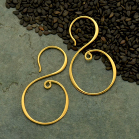 Gold Earring Hook - S Shape in 24K Gold Plate