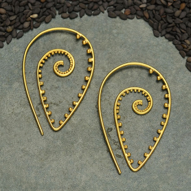 24K Gold Plated Spiral Earrings with Granulation 39x24mm