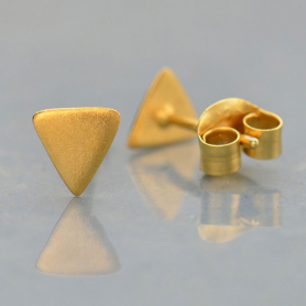 Gold Stud Earrings - Triangle Post in 24K Gold Plate