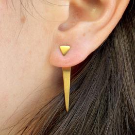 Gold Triangle Ear Jacket in 24K Gold Plate Geometric Jewelry