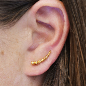 Granulated Ear Climber in 24K Gold Plate