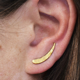 Hammered Ear Climbers in 24K Gold Plate