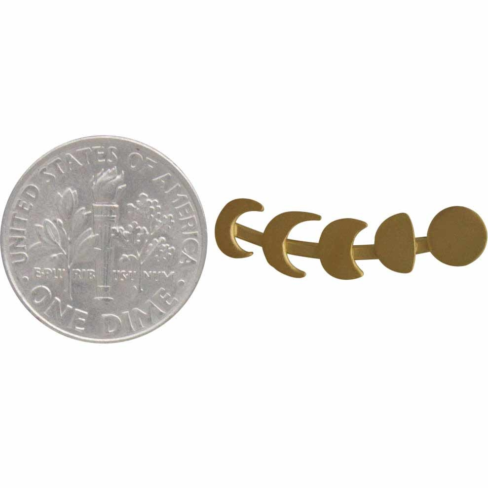 Gold Ear Climber - Moon Phases in 24K Gold Plate 22x5mm